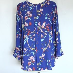 Van Heusen Floral Top Medium Bird Animals Shirt